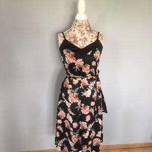 A New Day silk floral midi dress w belt